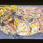 """Hand Built Dimensional Tile Panel """"Angel with Flowers"""" 18""""x 36"""""""