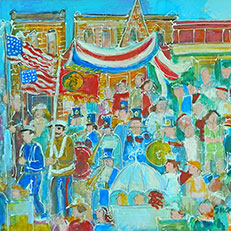 4th of July Parade - Painting by Sue Bolt