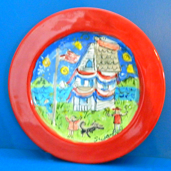 4th of July Round Plate by Sue Bolt