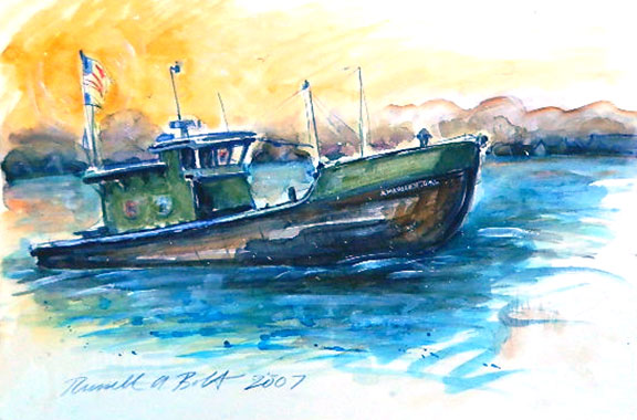 American Girl - Watercolor Painting by Russ Bolt