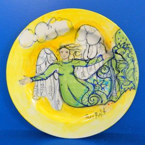 Angel of the August Sun Round Ceramic Plate by Sue Bolt
