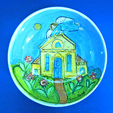 Angel Over the Yellow House - Bowl by Sue Bolt