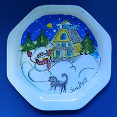 Annie's Snow Day - Large Octagonal Plate by Sue Bolt