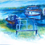 Beaver Island Boats - Watercolor Painting by Russ Bolt
