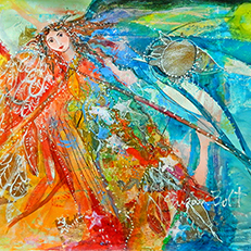 Behind the Moon Angel Painting by Sue Bolt