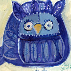 Blue Bird Note Card by Sue Bolt