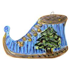 Blue Elf Shoe - Ornament by Lori Bolt