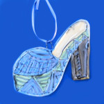 Blue Platform Shoe Ornament by Lori Bolt