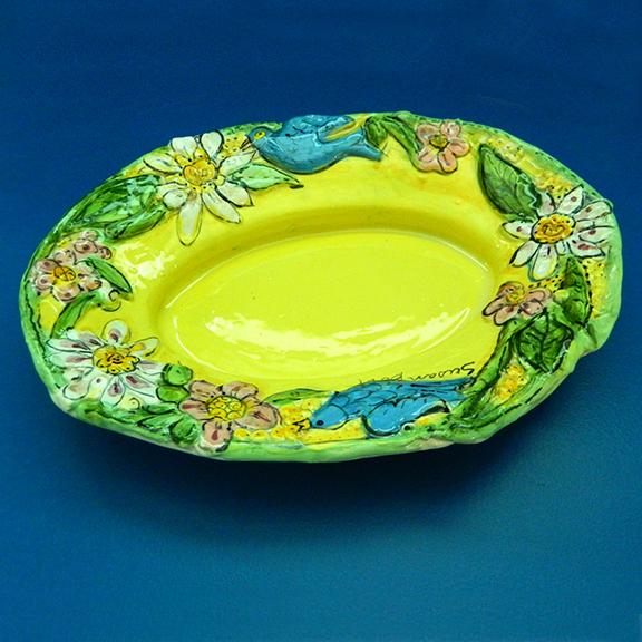 Bluebirds on Yellow Oval Sculptural Platter by Sue Bolt