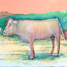 Bolt's Cows - Watercolor & Acrylic Painting