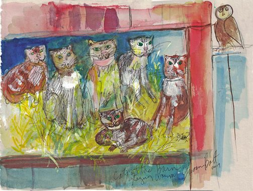 Cat House Original Painting by Sue Bolt