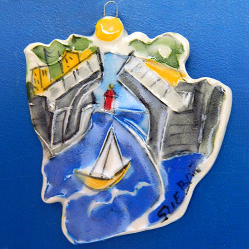 Charlevoix Bridge Ornament by Sue Bolt