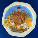 Chicken Lay Awaiting - Large Octagonal Plate by Sue Bolt
