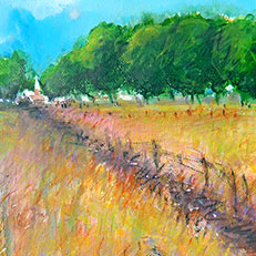 Church in Field - Original Painting by Russ Bolt