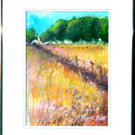 Church in Field - Original Watercolor Painting by Russ Bolt