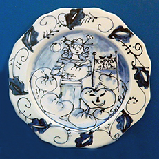 Cindy Has Pumpkins For Sale Blue and White Plate by Sue Bolt