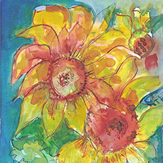 Cindy's Sunflowers Note Card by Sue Bolt