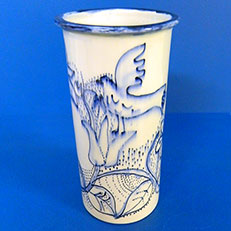 Classic Blue Bird Cylinder Vase by Sue Bolt
