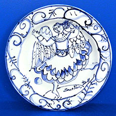 Classic Angel Dances in Blue, Blue & White Round Plate by Sue Bolt
