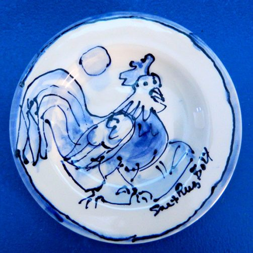 Cock a Doodle Dandy, Small Round Blue and White Plate by Sue Bolt