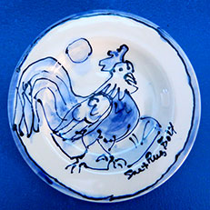 Cock a Doodle Dandy, Small Blue and White Round Plate by Sue Bolt