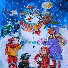 Come Out to Play on a Snowy Day Original Painting by Sue Bolt