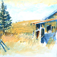 Corn Crib - Watercolor Painting by Russ Bolt