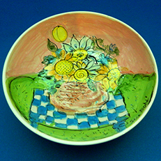 Country Picnic Bowl by Sue Bolt