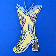 Cowboy Boot Ornament by Lori Bolt
