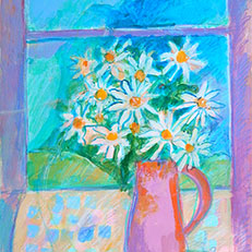 Daisies in My Window Note Card by Sue Bolt