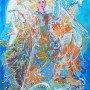 Dancing with the Wind - Angel Painting by Sue Bolt