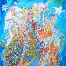 Dancing with the Wind – Angel Painting by Sue Bolt