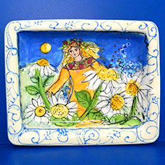 Deana in a Field of Daisies Angel Platter by Sue Bolt