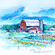 Ellsworth Barn - Watercolor Painting