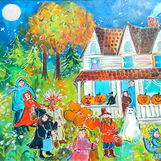 Fall Trick or Treat - Painting by Sue Bolt