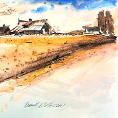 The Farm Road - Watercolor Painting by Russ Bolt