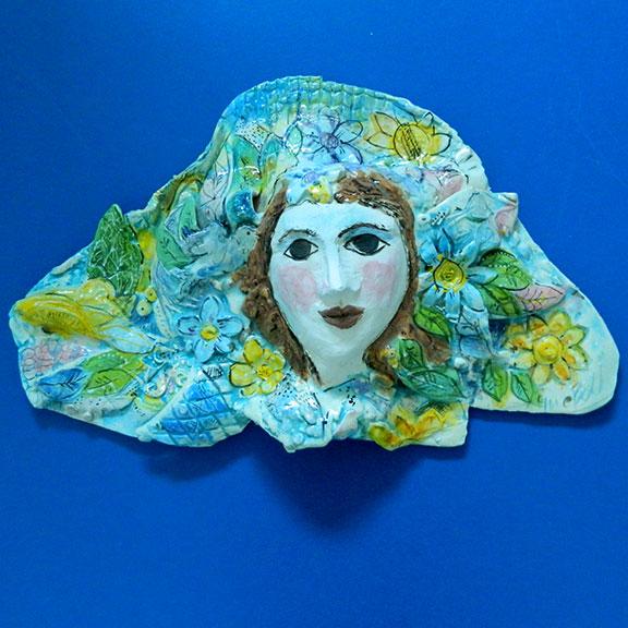 Flower Guardian Angel Face Wall Sculpture By Sue Bolt