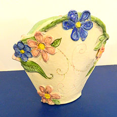 Flowers For My Cottage-Large Fan Vase by Sue Bolt