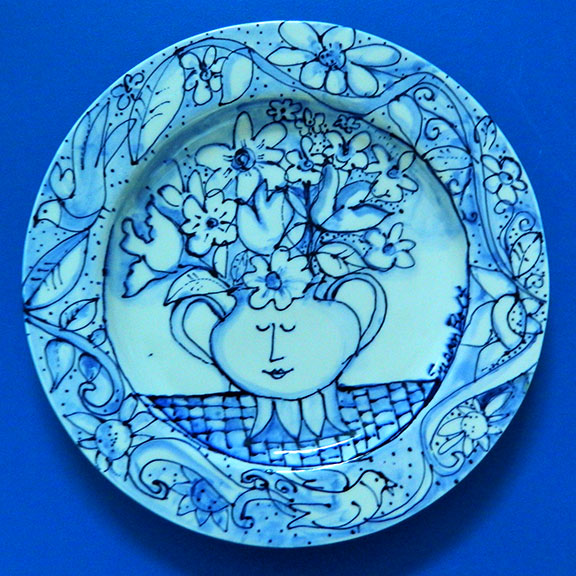 Flowers in a Teapot Large Round Plate by Sue Bolt