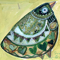 Green Bird Note Card by Sue Bolt