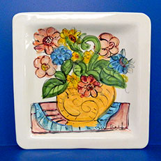 Harbor Summer Hand Painted Ceramic Platter by Sue Bolt