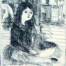 Heather at Marion's - Etching by Sue Bolt