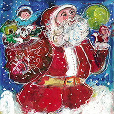 Here Comes Santa Claus Print by Sue Bolt