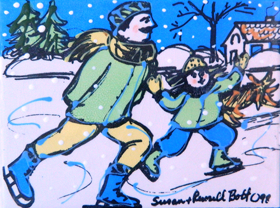 Skating with Dad in Green and Yellow Color Tile by Sue Bolt