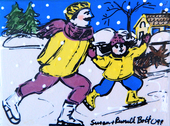 Skating with Dad in Purple and Yellow Color Tile by Sue Bolt
