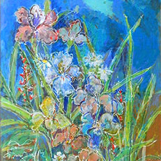 Irises Note Card by Sue Bolt