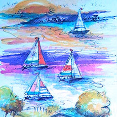 Lake Charlevoix Sailboats - Watercolor Painting