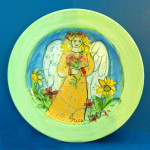 Lora is in the Garden Round Plate by Sue Bolt
