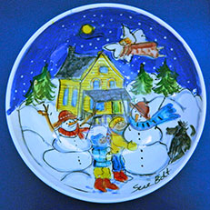 Making Snow People - Ceramic Bowl by Sue Bolt