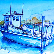 Marathon Shrimper - Watercolor Painting